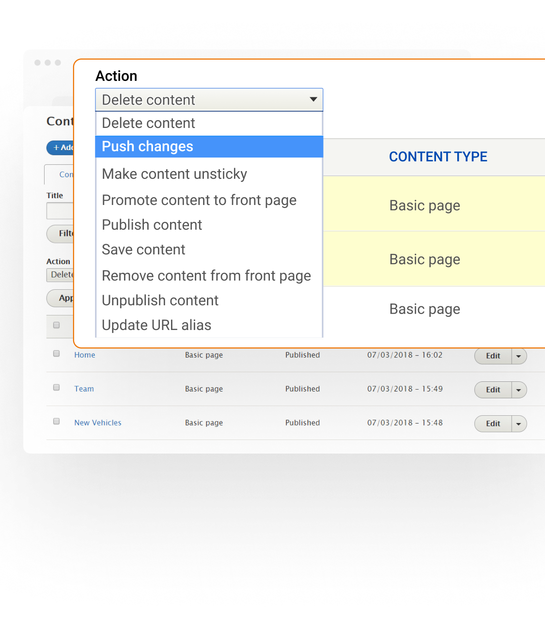 Content Staging Example